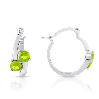 Dolce Giavonna Sterling Silver Peridot Hoop Earrings
