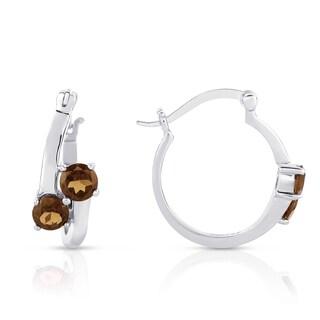 Dolce Giavonna Sterling Silver Smokey Quartz Hoop Earrings