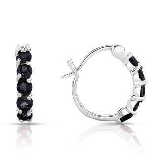 Dolce Giavonna Sterling Silver Black Spinel Hoop Earrings