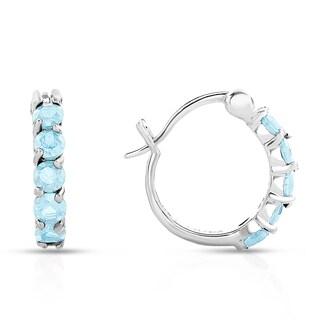Dolce Giavonna Sterling Silver Blue Topaz Hoop Earrings