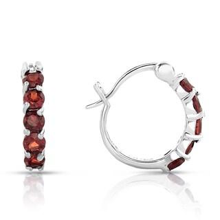 Dolce Giavonna Sterling Silver Garnet Hoop Earrings