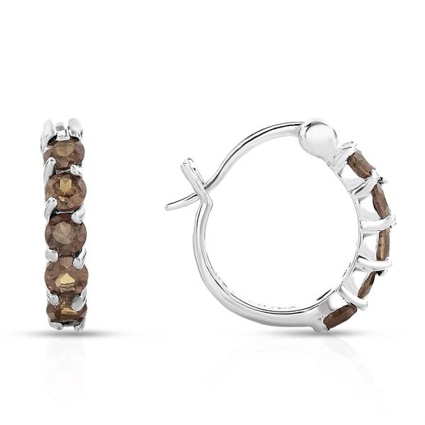 09a7c647b Shop Dolce Giavonna Sterling Silver Smokey Quartz Hoop Earrings - On ...