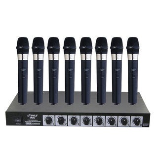 Pyle PDWM8400 8 Mic Professional Handheld VHF Wireless Microphone System