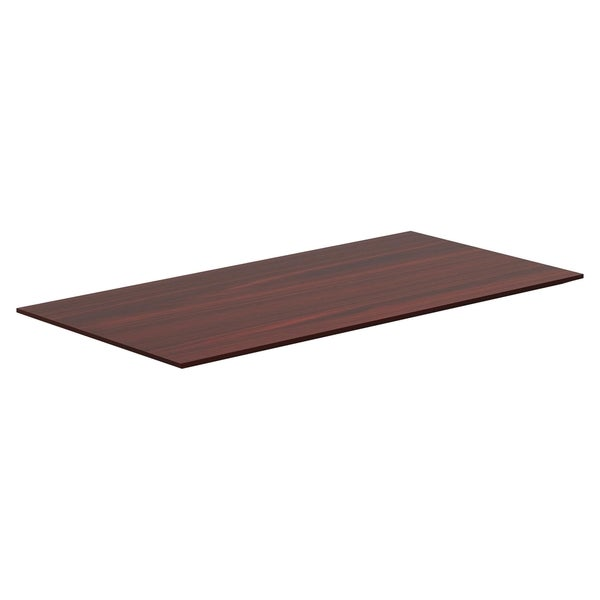 Lorell Quadro Sit/Stand Straight Edge Mahogany Tabletop - (1/Each)