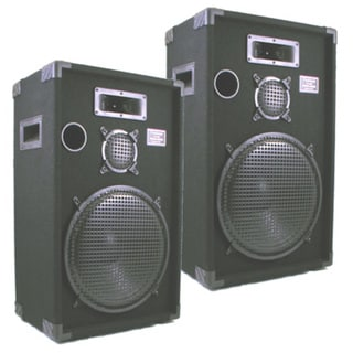 Podium Pro E1500C PA DJ Karaoke Home Pro Audio 15-inch Three Way Black Speaker Pair E1500C-PR