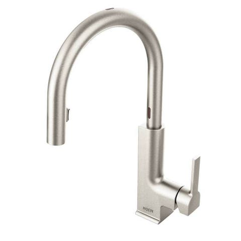 Moen Sto One Handle High Arc Pull-Down Motionsense Kitchen Faucet Spot Resist Stainless Finish S72308ESRS