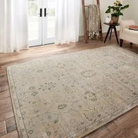 Traditional Distressed Stone Beige/ Blue Floral Rug - 12' x 15'