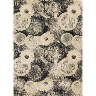 Transitional Black/ Grey Floral Vintage Glam Rug - 12' x 15'