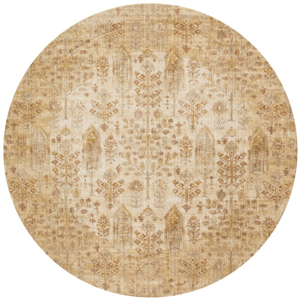 Shop Traditional Antique Ivory Gold Floral Distressed