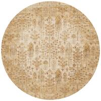 Traditional Antique Ivory/ Gold Floral Distressed Round Rug - 5'3 x 5'3