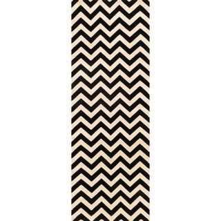 Presley Black/ Ivory Chevron Rug - 2'8 x 7'7