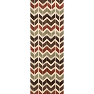 Presley Brown/ Multi Chevron Trellis Runner Rug (2'8 x 7'7)