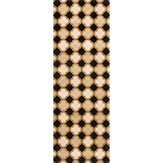 Presley Black/ Camel Rug - 2'8 x 7'7
