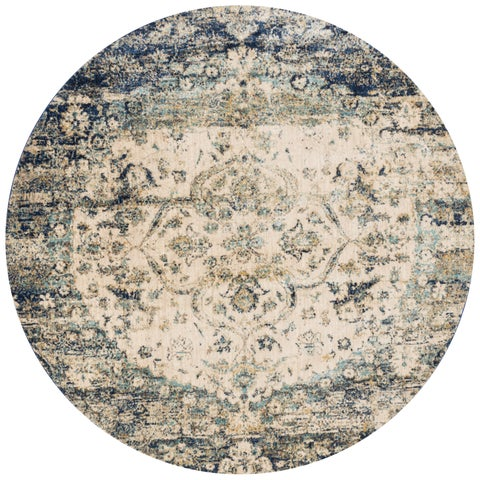 """Traditional Blue/ Ivory Medallion Distressed Round Rug - 5'3"""" x 5'3"""" Round"""