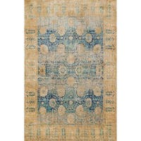 Traditional Blue/ Gold Floral Distressed Rug - 3'7 x 5'7