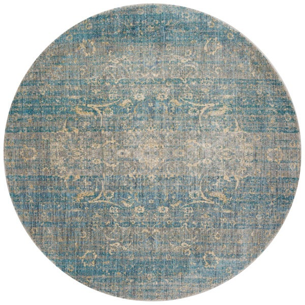 Shop Traditional Light Blue/ Mist Floral Distressed Round