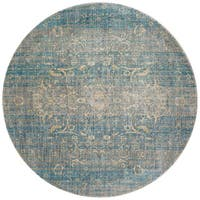 Traditional Light Blue/ Mist Floral Distressed Round Rug - 9'6 x 9'6
