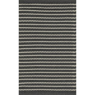 Indoor/ Outdoor Earth Tone Flatweave Charcoal Stripe Rug (2'3 x 3'9)