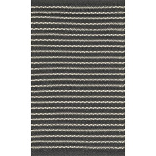 Indoor/ Outdoor Earth Tone Flatweave Charcoal Stripe Rug - 2'3 x 3'9