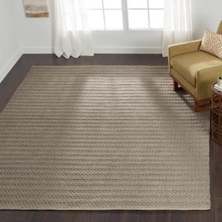 Indoor/ Outdoor Earth Tone Flatweave Graphite Rug (7'6 x 9'6)