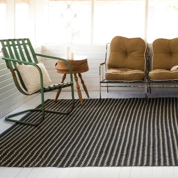 Indoor/ Outdoor Earth Tone Flatweave Charcoal Stripe Rug - 9'3 X 13'