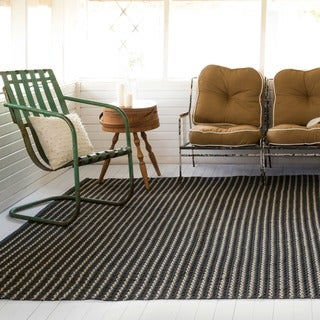 Indoor/ Outdoor Earth Tone Flatweave Charcoal Stripe Rug (9'3 X 13')