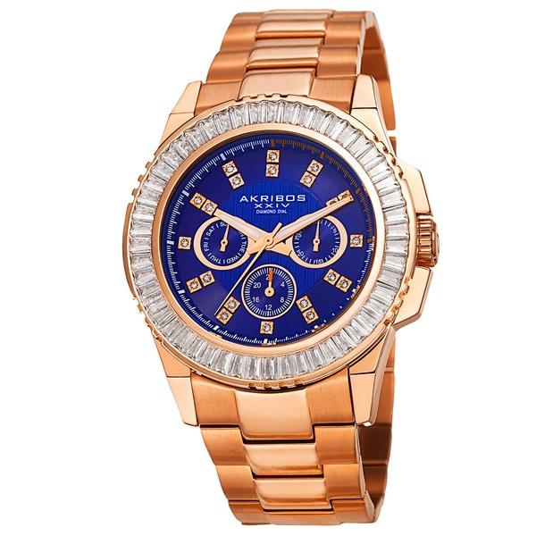 Akribos XXIV Men's Diamond Stainless Steel Rose-Tone Bracelet Watch - BLue