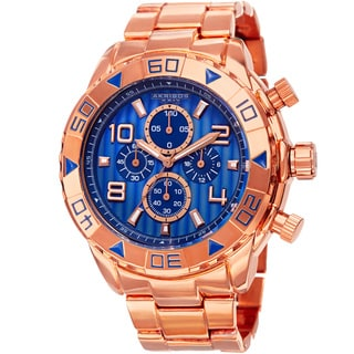 Akribos XXIV Men's Quartz Chronograph Etched-Pattern Dial Rose-Tone Strap Watch with Gift Box - Blue