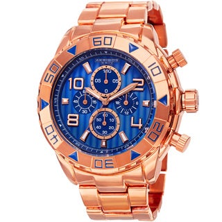 Akribos XXIV Men's Quartz Chronograph Etched-Pattern Dial Rose-Tone Strap Watch with FREE GIFT - Blue