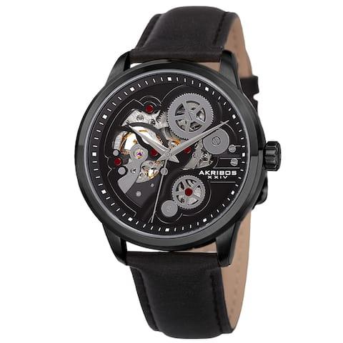 Akribos XXIV Men's Skeleton Automatic Movement Leather Black Strap Watch