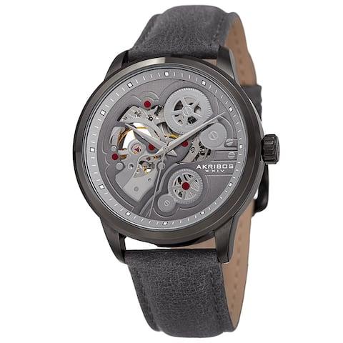 Akribos XXIV Men's Skeleton Automatic Movement Leather Grey Strap Watch