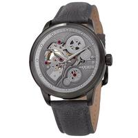 Akribos XXIV Men's Skeleton Automatic Movement Leather Grey Strap Watch