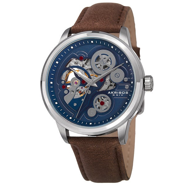 Shop akribos xxiv men 39 s skeleton automatic movement leather silver tone strap watch brown on for Auto movement watches