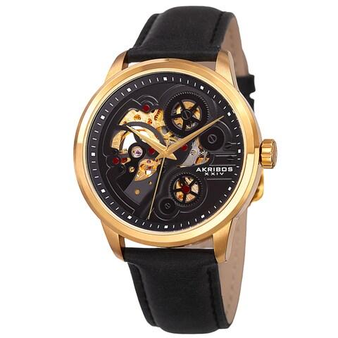 Akribos XXIV Men's Skeleton Automatic Movement Leather Gold-Tone Strap Watch - GOLD