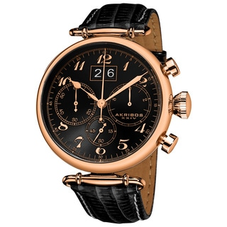 Akribos XXIV Men's Quartz Chronograph Leather Rose-Tone Strap Watch