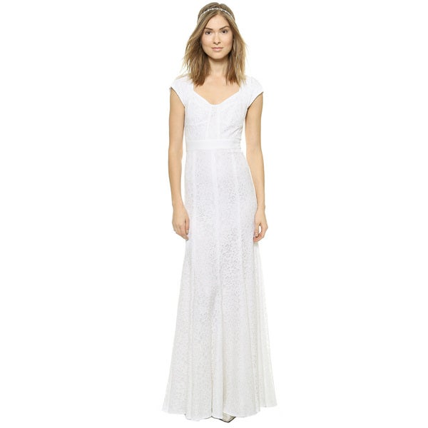 Diane Von Furstenberg Romantic DVF Maio Floral Lace Sweetheart Gown ...