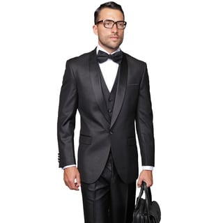 Men's Bariblack Wool 3-piece Shawl Collar Statement Tuxedo
