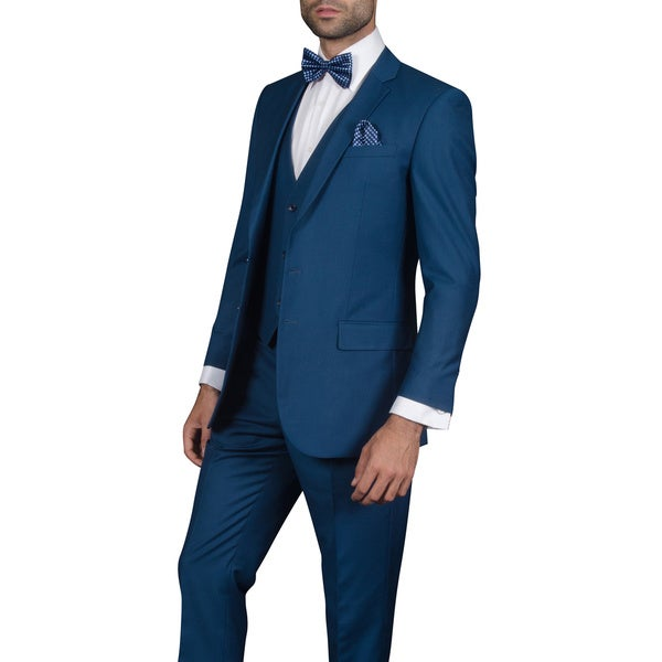 Men's Wool Lorenzo Indigo 3-piece Statement Suit - Free Shipping ...