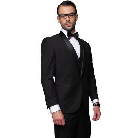 Men's Black 3-piece Single Breasted Statement Tuxedo in 48R (As Is Item)