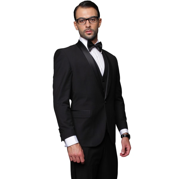 Men's Black 3-piece Single Breasted Statement Tuxedo. Opens flyout.