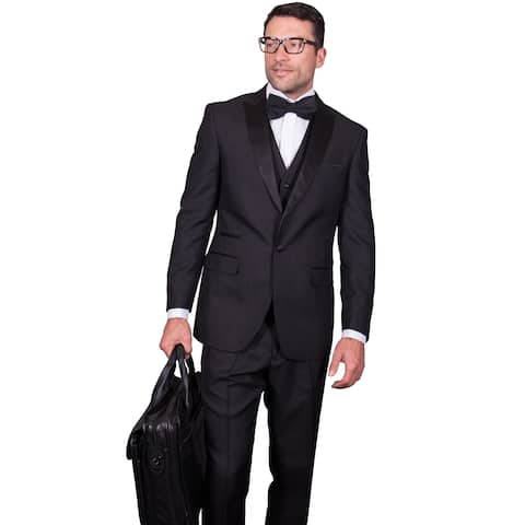 Men's Reggio Black 3-piece Statement Suit Tuxedo 38R (As Is Item)