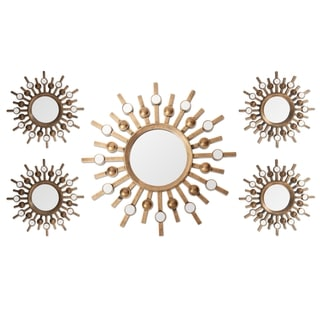 Two-tone Bronze Burst Wall Mirrors (Set of 5)