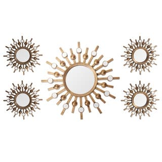 Two-tone Bronze Burst Wall Mirrors (Set of 5) (Option: Bronze)|https://ak1.ostkcdn.com/images/products/11112840/P18115769.jpg?impolicy=medium