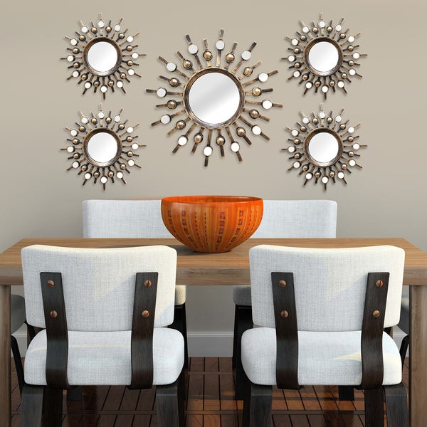 Two tone Bronze Burst Wall Mirrors Set of 5 Free