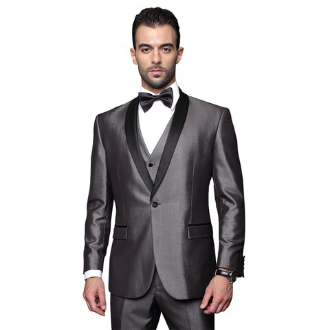 Men's Grey Wool 3-piece Statement Suit Tuxedo