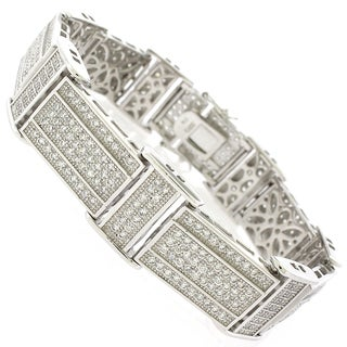 Sterling Silver Men's Cubic Zirconia Rectangle Fancy Bling Bangle Bracelet
