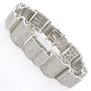 Sterling Silver Men's Cubic Zirconia Curving Fancy Bling Bangle Bracelet
