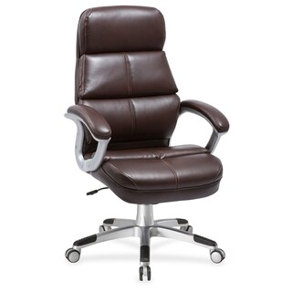 Lorell Brown Bonded Leather High-back Chair - (1/Each)