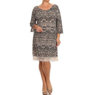 MOA Collection Plus Size Women's Lace Trim Dress