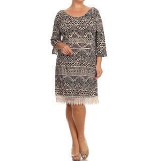 MOA Collection Plus Size Women's Lace Trim Dress